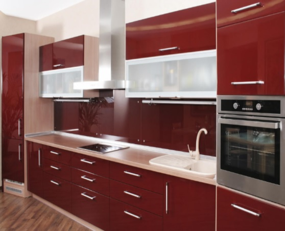 back painted glass kitchen